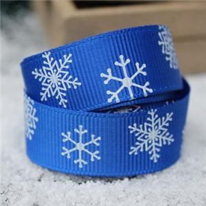 Go Grosgrain - Snowflakes Blue/White
