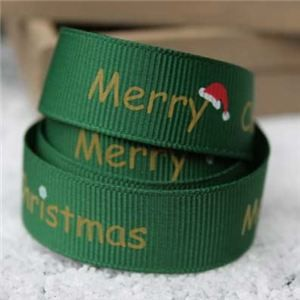 Go Grosgrain - 15mm Merry Christmas Hat Green/Gold