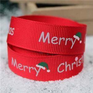 Go Grosgrain - 15mm Merry Christmas Hat Red/Silver