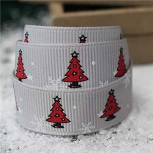 Go Grosgrain - Christmas Trees Silver/Red