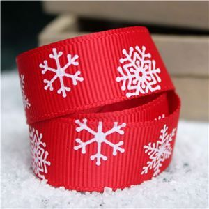 Go Grosgrain - Snowflakes Red/White