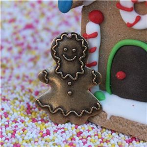 Gingerbread Men Button - Large Girl