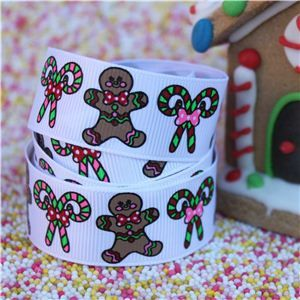 Gingerbread Men Ribbon - Candy Canes