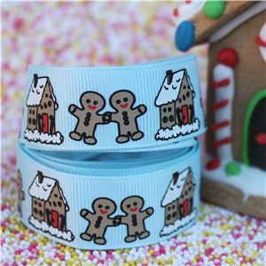 Gingerbread Men Ribbon - House Ice Blue