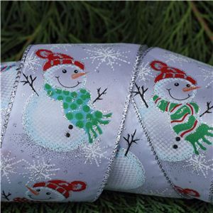 Christmas Ribbon - Three Snowmen