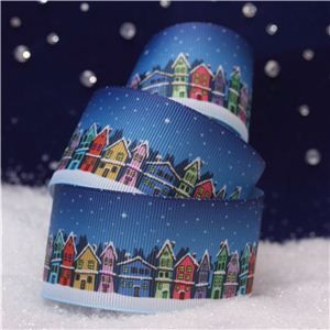 Christmas Ribbon - Night Houses