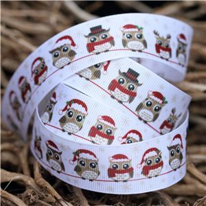 Christmas Owl Ribbon - Owls on Line