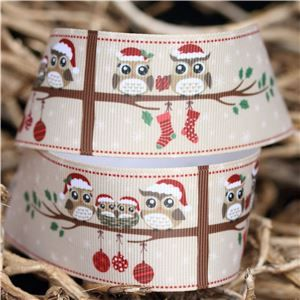 Christmas Owl Ribbon - Tree Branch