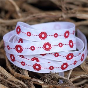 Christmas Owl Ribbon - Flowers/Snowy