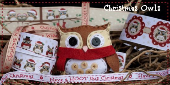 christmas owl ribbon