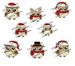 Christmas Owl - Digi Stamp set of 8