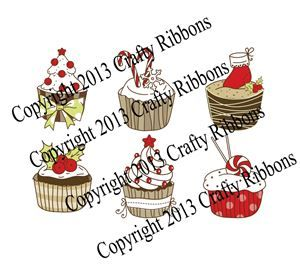Christmas Cupcake - Set of 6 Digis