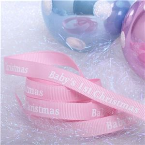 Winterscene Stamp Ribbon - Baby Pink