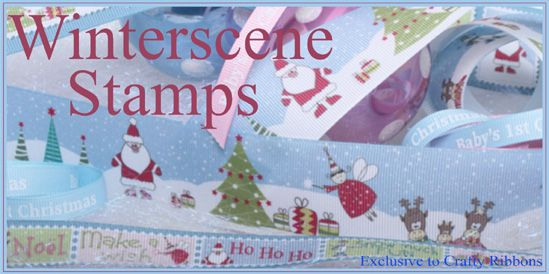 winterscene stamp christmas ribbon