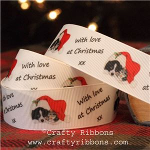 Vintage Christmas Past Ribbon - Cat and Dog