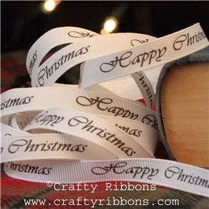 Vintage Christmas Past Ribbon - Happy Christmas
