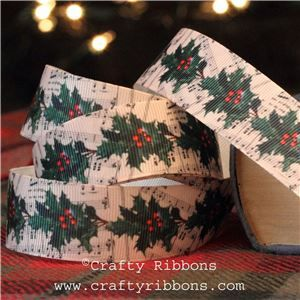 Vintage Christmas Past Ribbon - Music Holly