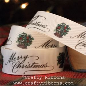 Vintage Christmas Past Ribbon - Holly Basket