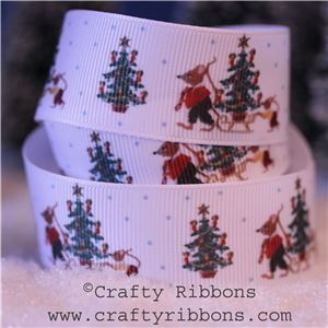 Mice Christmas Ribbon - Sleigh