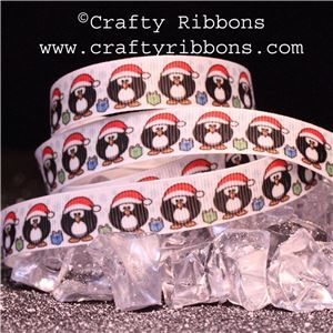Penguin Pals Ribbon - Bubbles as Santa