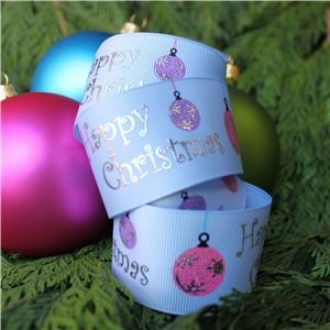 Christmas Ribbon - Bauble Blue/Silver