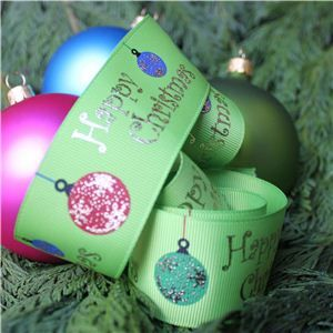 Christmas Ribbon - Bauble Lime/Gold