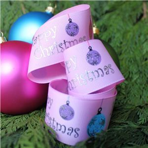 Christmas Ribbon - Bauble Pink/Silver