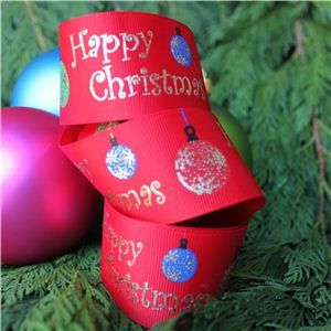 Christmas Ribbon - Bauble Red/Gold