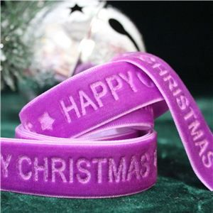Velvet Ribbon - Happy Christmas/Plum Pudding