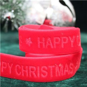Velvet Ribbon - Happy Christmas/Santa Red