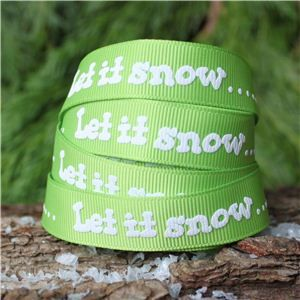 Christmas Ribbon - Let it snow/Lime
