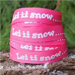 Christmas Ribbon - Let it snow/Pink