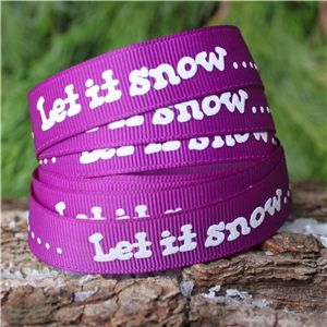 Christmas Ribbon - Let it snow/Purple