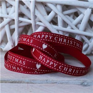 Christmas Ribbon - Happy Christmas Heart