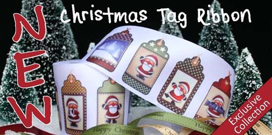 christmas tag ribbon, ribbon with christmas tags printed on