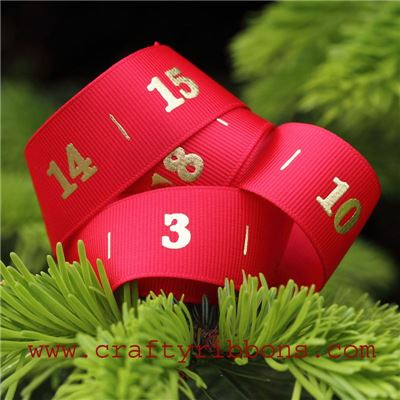 Advent Number Ribbon - Santa Red