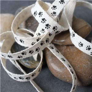 Cotton Ribbon Print - Paw Prints