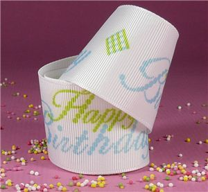 Cupcake Ribbon - Vanilla Happy Birthday