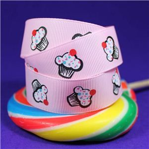 Sweet Treat Ribbon - 22mm Pink/Cherry Cupcake