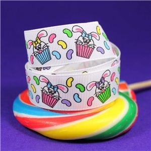 Sweet Treat Ribbon - 22mm White/Bunny Cupcake
