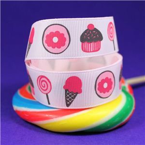 Sweet Treat Ribbon - 22mm Pink/Cake & Lolly
