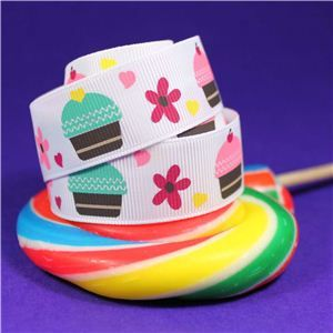 Sweet Treat Ribbon - 22mm White/Cake & Flowers