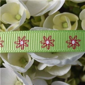 Flower Ribbon - Daisy on Lime