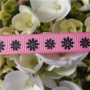 Flower Ribbon - Daisy Black on Pink