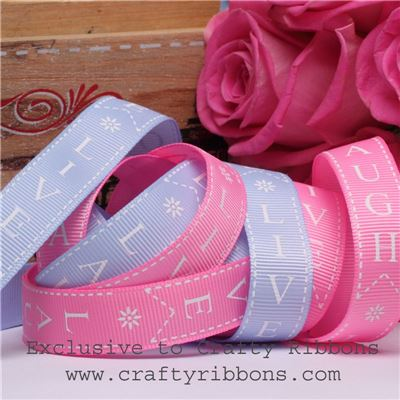Patchwork Rose Ribbon - Live Laugh Love