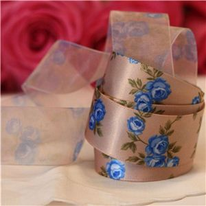 Vintage Rose Ribbon - Beige/Blue