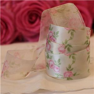 Vintage Rose Ribbon - Antique/Pink