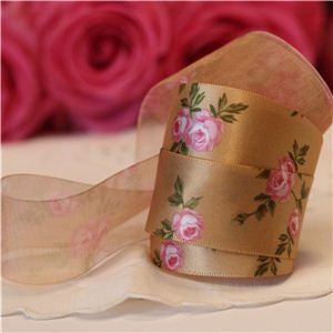 Vintage Rose Ribbon - Gold/Pink