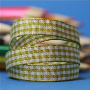 10mm Gingham Ribbon - Golden Olive/White