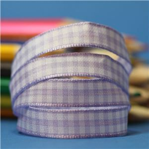 10mm Gingham Ribbon - Orchid